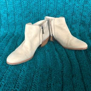 Sam Edelman Petty Shimmer Tan Gold Suede Booties